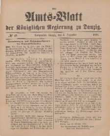 Amts-Blatt der Königlichen Regierung zu Danzig, 3. Dezember 1898, Nr. 49