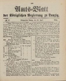Amts-Blatt der Königlichen Regierung zu Danzig, 28. April 1900, Nr. 17