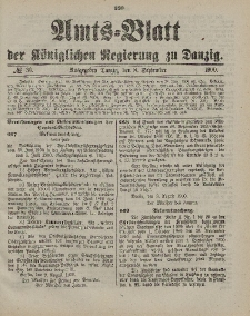 Amts-Blatt der Königlichen Regierung zu Danzig, 8. September 1900, Nr. 36