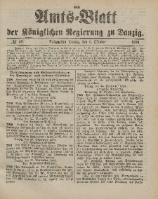 Amts-Blatt der Königlichen Regierung zu Danzig, 6. Oktober 1900, Nr. 40