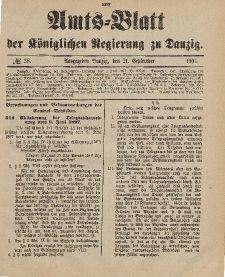 Amts-Blatt der Königlichen Regierung zu Danzig, 21. September 1901, Nr. 38