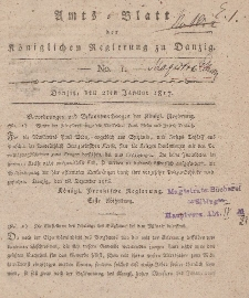 Amts-Blatt der Königlichen Regierung zu Danzig, 2. Januar 1817, Nr. 1
