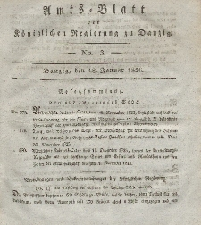 Amts-Blatt der Königlichen Regierung zu Danzig, 18. Januar 1826, Nr. 3