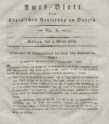 Amts-Blatt der Königlichen Regierung zu Danzig, 1. März 1826, Nr. 9