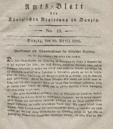 Amts-Blatt der Königlichen Regierung zu Danzig, 12. April 1826, Nr. 15