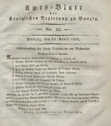 Amts-Blatt der Königlichen Regierung zu Danzig, 19. April 1826, Nr. 16