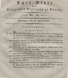 Amts-Blatt der Königlichen Regierung zu Danzig, 14. Juni 1826, Nr. 24