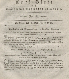 Amts-Blatt der Königlichen Regierung zu Danzig, 6. September 1826, Nr. 36