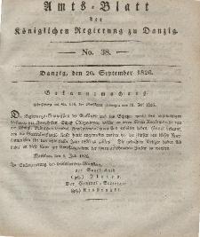 Amts-Blatt der Königlichen Regierung zu Danzig, 20. September 1826, Nr. 38