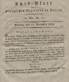 Amts-Blatt der Königlichen Regierung zu Danzig, 15. November 1826, Nr. 46