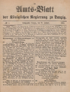 Amts-Blatt der Königlichen Regierung zu Danzig, 18. Januar 1902, Nr. 3