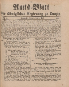 Amts-Blatt der Königlichen Regierung zu Danzig, 5. April 1902, Nr. 14