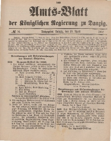 Amts-Blatt der Königlichen Regierung zu Danzig, 19. April 1902, Nr. 16