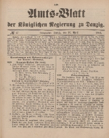 Amts-Blatt der Königlichen Regierung zu Danzig, 26. April 1902, Nr. 17