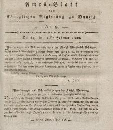 Amts-Blatt der Königlichen Regierung zu Danzig, 28. Februar 1822, Nr. 9