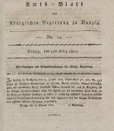 Amts-Blatt der Königlichen Regierung zu Danzig, 14. März 1822, Nr. 11