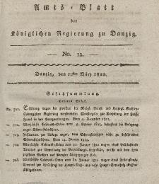 Amts-Blatt der Königlichen Regierung zu Danzig, 21. März 1822, Nr. 12