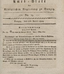 Amts-Blatt der Königlichen Regierung zu Danzig, 11. April 1822, Nr. 15
