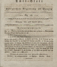 Amts-Blatt der Königlichen Regierung zu Danzig, 18. April 1822, Nr. 16