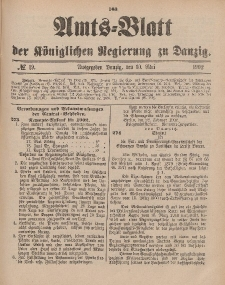 Amts-Blatt der Königlichen Regierung zu Danzig, 10. Mai 1902, Nr. 19