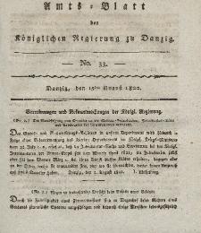 Amts-Blatt der Königlichen Regierung zu Danzig, 15. August 1822, Nr. 33
