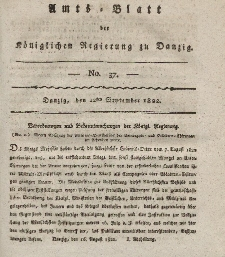 Amts-Blatt der Königlichen Regierung zu Danzig, 12. September 1822, Nr. 37