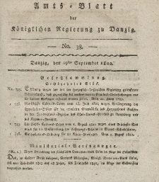 Amts-Blatt der Königlichen Regierung zu Danzig, 19. September 1822, Nr. 38
