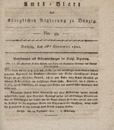 Amts-Blatt der Königlichen Regierung zu Danzig, 26. September 1822, Nr. 39