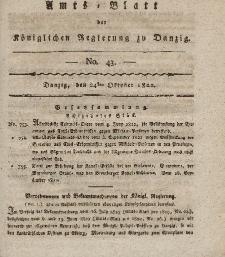 Amts-Blatt der Königlichen Regierung zu Danzig, 24. Oktober 1822, Nr. 43
