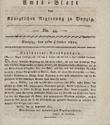 Amts-Blatt der Königlichen Regierung zu Danzig, 31. Oktober 1822, Nr. 44