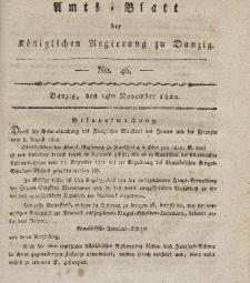 Amts-Blatt der Königlichen Regierung zu Danzig, 14. November 1822, Nr. 46