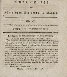 Amts-Blatt der Königlichen Regierung zu Danzig, 21. November 1822, Nr. 47