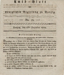 Amts-Blatt der Königlichen Regierung zu Danzig, 26. Dezember 1822, Nr. 52