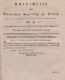 Amts-Blatt der Königlichen Regierung zu Danzig, 24. September 1818, Nr. 39