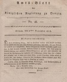 Amts-Blatt der Königlichen Regierung zu Danzig, 26. November 1818, Nr. 48