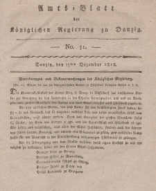 Amts-Blatt der Königlichen Regierung zu Danzig, 17. Dezember 1818, Nr. 51