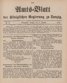 Amts-Blatt der Königlichen Regierung zu Danzig, 11. Oktober 1902, Nr. 41