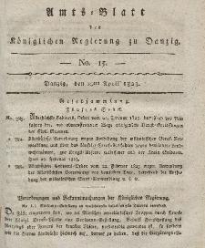 Amts-Blatt der Königlichen Regierung zu Danzig, 10. April 1823, Nr. 15