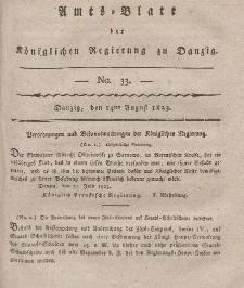 Amts-Blatt der Königlichen Regierung zu Danzig, 14. August 1823, Nr. 33