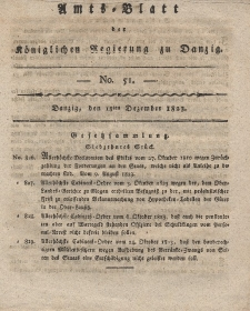 Amts-Blatt der Königlichen Regierung zu Danzig, 18. Dezember 1823, Nr. 51