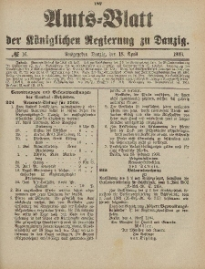 Amts-Blatt der Königlichen Regierung zu Danzig, 18. April 1903, Nr. 16