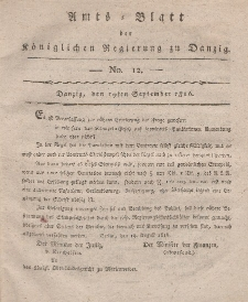 Amts-Blatt der Königlichen Regierung zu Danzig, 19. September 1816, Nr. 12