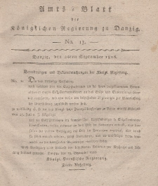 Amts-Blatt der Königlichen Regierung zu Danzig, 26. September 1816, Nr. 13