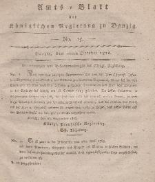 Amts-Blatt der Königlichen Regierung zu Danzig, 10. Oktober 1816, Nr. 15