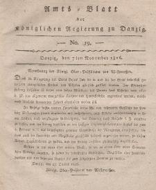 Amts-Blatt der Königlichen Regierung zu Danzig, 7. November 1816, Nr. 19