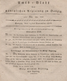 Amts-Blatt der Königlichen Regierung zu Danzig, 14. November 1816, Nr. 20