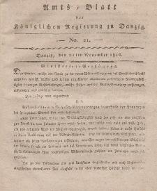 Amts-Blatt der Königlichen Regierung zu Danzig, 21. November 1816, Nr. 21