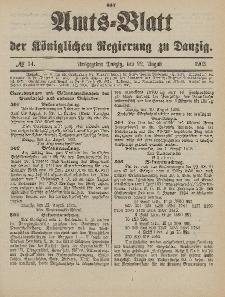 Amts-Blatt der Königlichen Regierung zu Danzig, 22. August 1903, Nr. 34