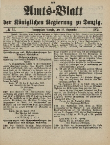 Amts-Blatt der Königlichen Regierung zu Danzig, 19. September 1903, Nr. 38