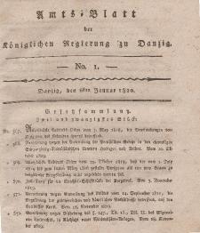 Amts-Blatt der Königlichen Regierung zu Danzig, 6. Januar 1820, Nr. 1